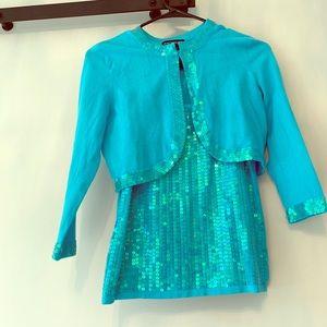 Boston Proper Aqua Blue Sparkle sweater/tank set